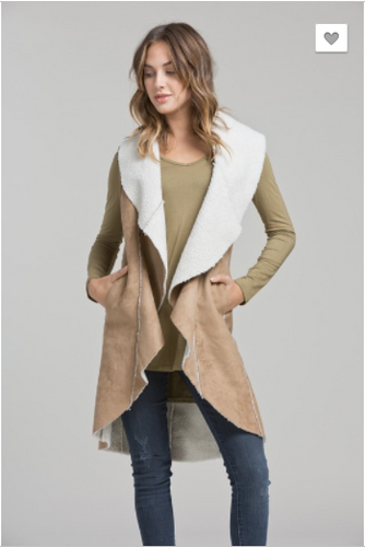 Faux Shearling Long Vest