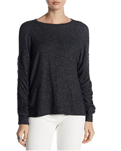 Women's Brushed Knit Ruched Sleeve Pullover