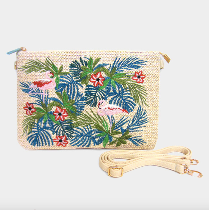 Embroidery Leaf Flowers Flamingo Clutch Bag - Nicoletaylorboutique