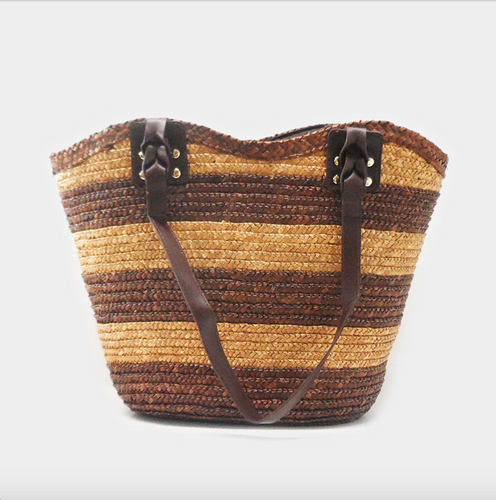 Brown Striped Straw Tote Bag