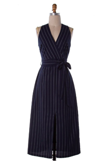 Navy with White Stripped Midi Dress - nicole taylor boutique, Lancaster pa Womens clothing boutique