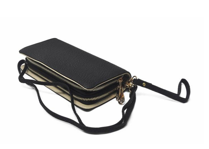 Vegan Black Double Zipper Wallet Purse