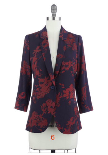 Maroon  and Navy Floral Blazer