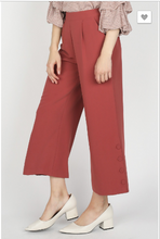 Wide Leg Trousers With Button Up Detail