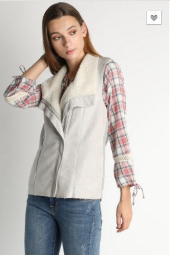 Faux Suede Sherpa Side Zip Vest