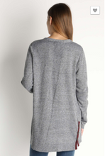 Grey Cardigan with Maroon Color Strip