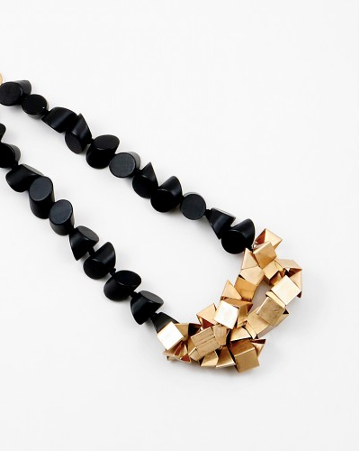 Recycled Wood and Gold Necklace