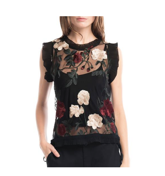 Gracia Sheer  Flower Embroidered Top