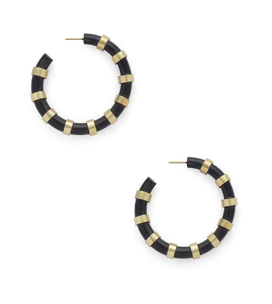 EMBELLISHED HORN HOOP EARRINGS