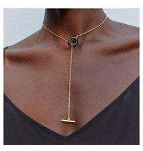 MIXED MATERIAL KUMI LARIAT NECKLACE