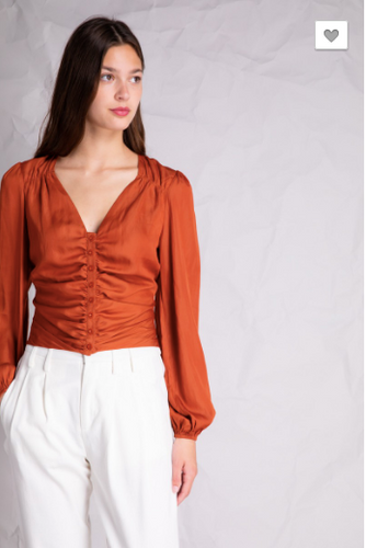 Satin Smocked Waist Blouse
