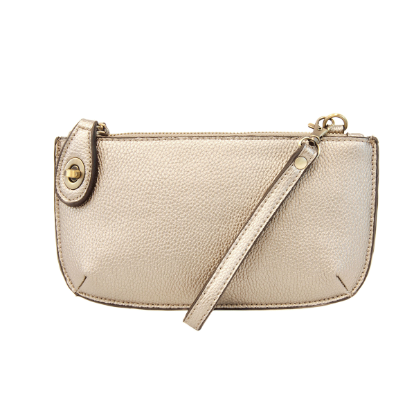 Metallic Pearl Mini Crossbody Wristlet Clutch