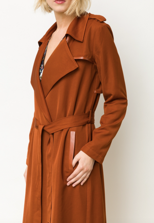 Leather inset Trench Coat