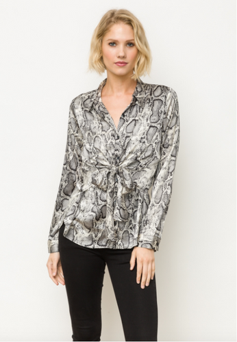 Animal Print Front Twist Shirt