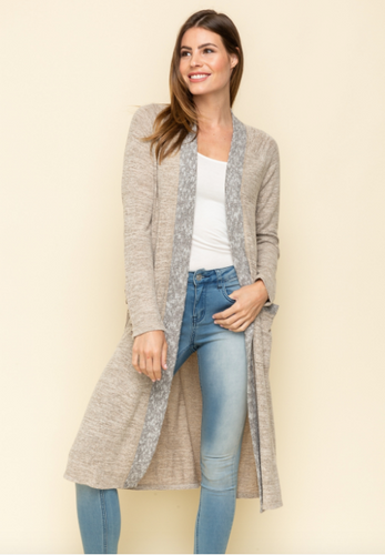 Front Rib Detail Long Cardigan