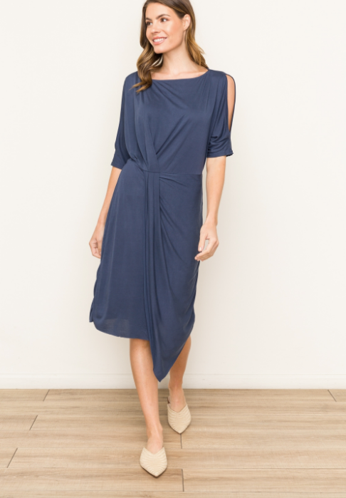 Modal Cold Shoulder Navy Dress