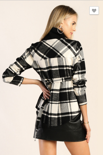 Turtle Neck Black Plaid Sweater