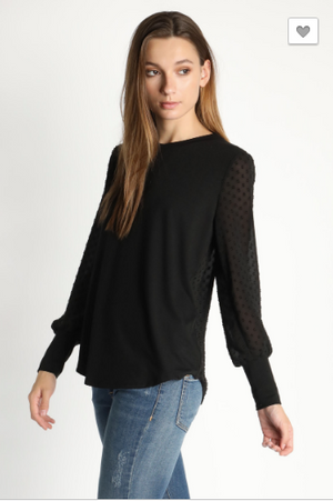 Scoop Neck Top with Back Button Detail