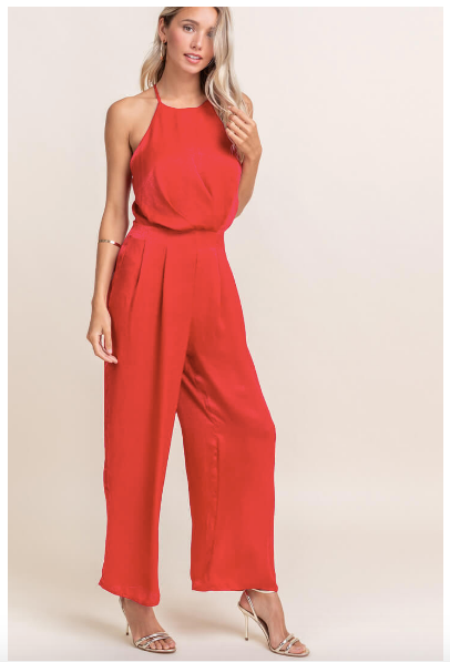 Satin High Neck Racerback Jumpsuit