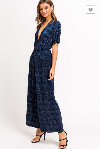 Blue Metallic Plisse Twist Front Jumpsuit
