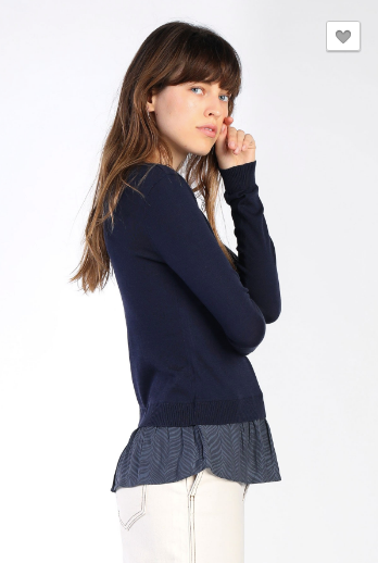 Knit Long Sleeve Top With Contrast Him