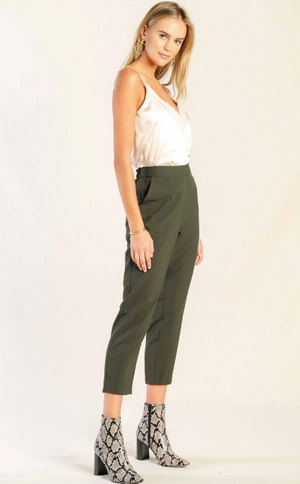 Cropped Slim Fit Pants