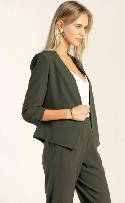 Green Ruched Collarless Blazer