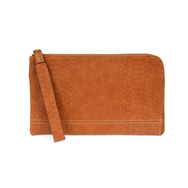 Burnt Orange Python Wristlet