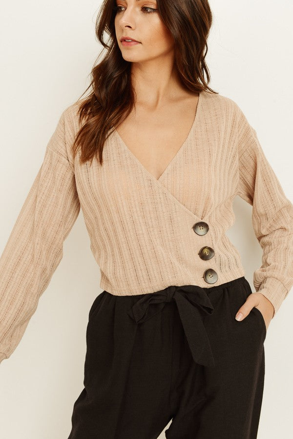 Cropped Wrap Over button Sweater Top