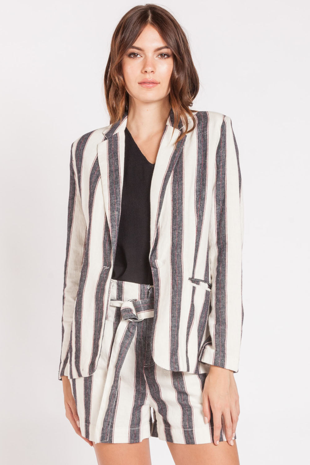 Stripped Boyfriend Linen Jacket - Nicoletaylorboutique