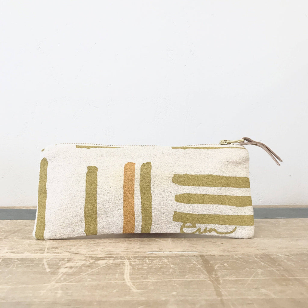Ochre Grid Pencil Zipper Bag