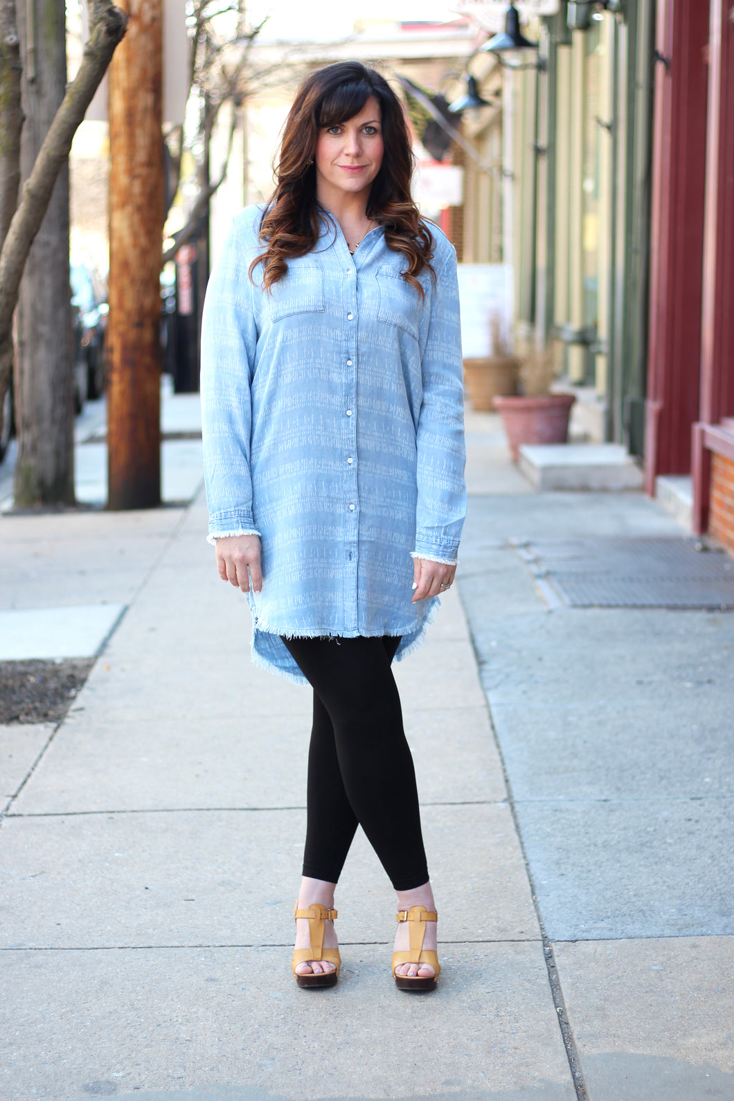 Denim Fray Hem Tunic Dress - Nicoletaylorboutique