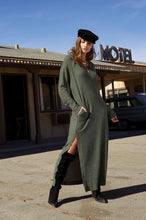 Olive Green Camilia Termal Dress with Hood