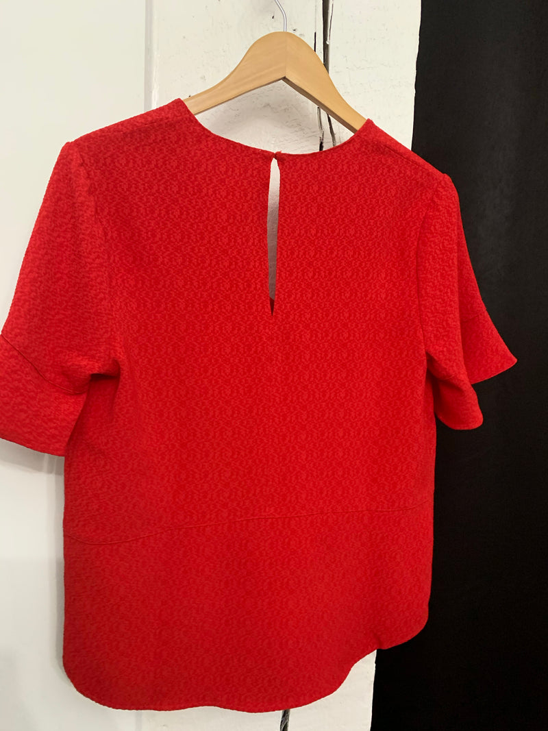 Final sale - Red short bell sleeve top