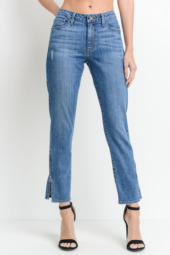 Slim Straight Leg Jeans with Side Zipper - Nicoletaylorboutique
