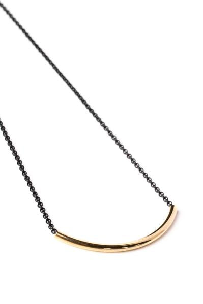 Gold Curve Bar Necklace on Black Chain - Nicoletaylorboutique