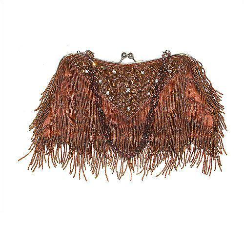 Brown Vintage Style Beaded Clutch Purse - womens clothing boutique nicole taylor Lancaster pa
