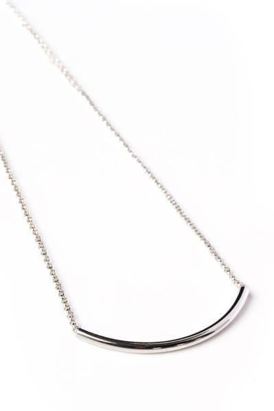 Silver Curve Bar Necklace on Silver Chain - Nicoletaylorboutique