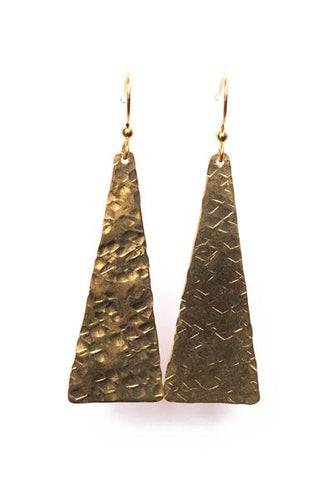 Hand Crafted Hammered Triangle Earrings
