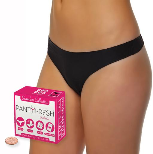 4in1 Panty Fresh No Show Black Thong Underwear