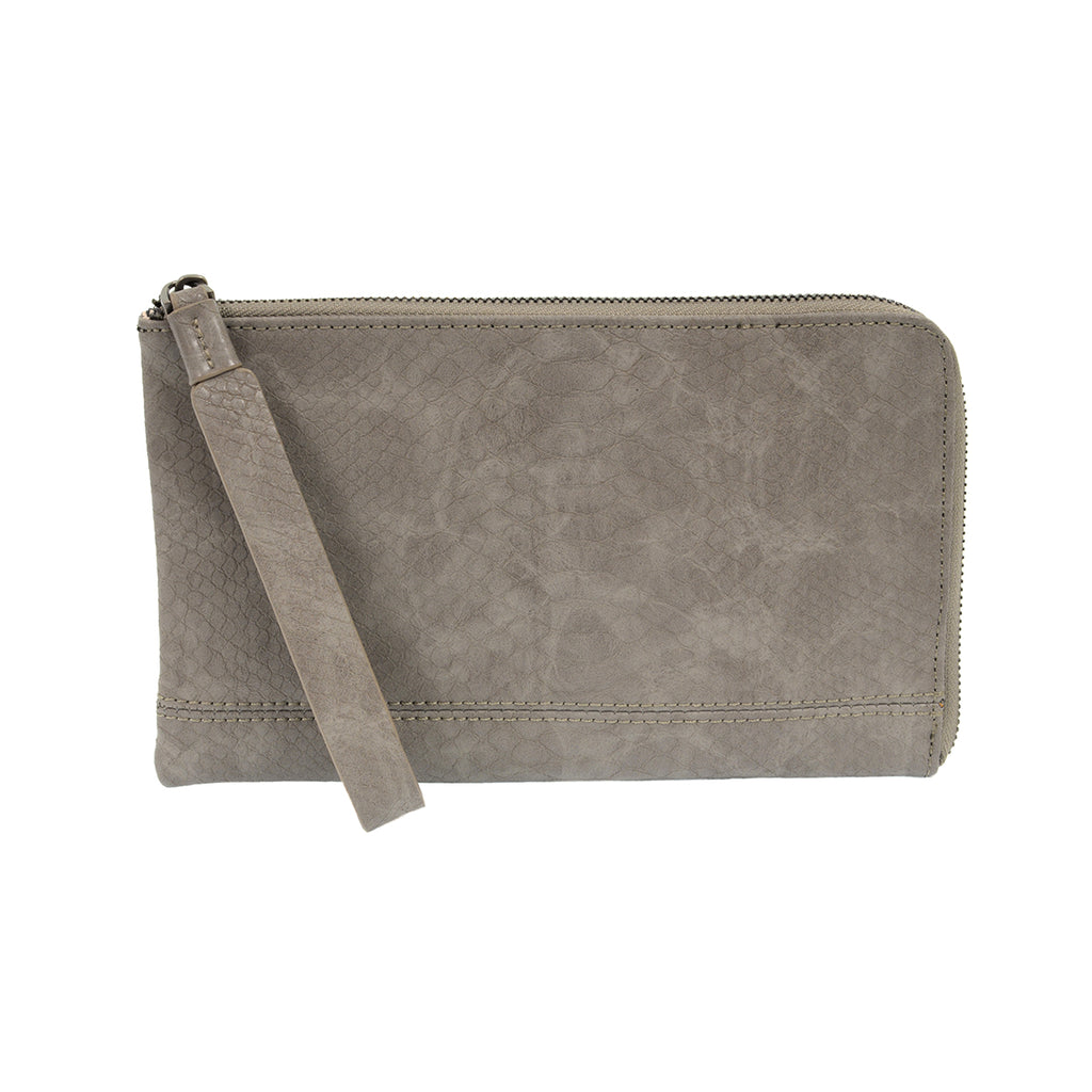 Grey Tina Python Zip Around Wristlet