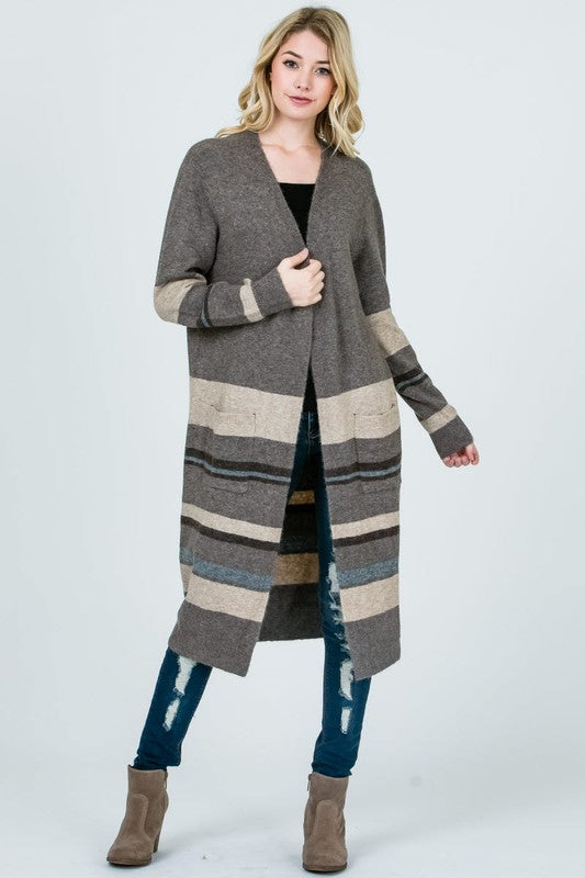 Extended Striped Cardigan With Pockets