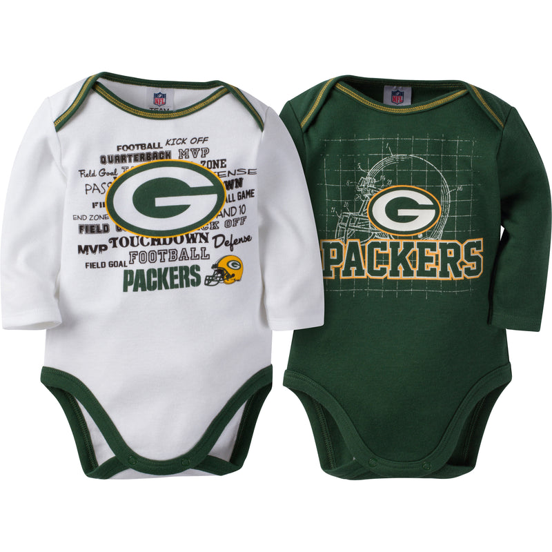 Packers Infant Long Sleeve Logo Onesies-2 Pack