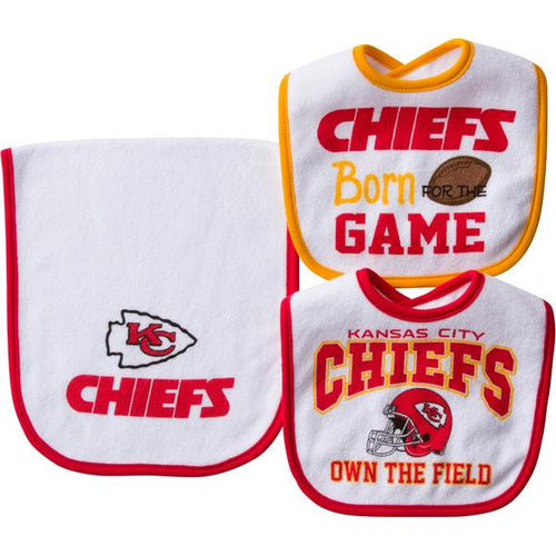 Kansas City Chiefs 2 Bib and 1 Burpcloth Set