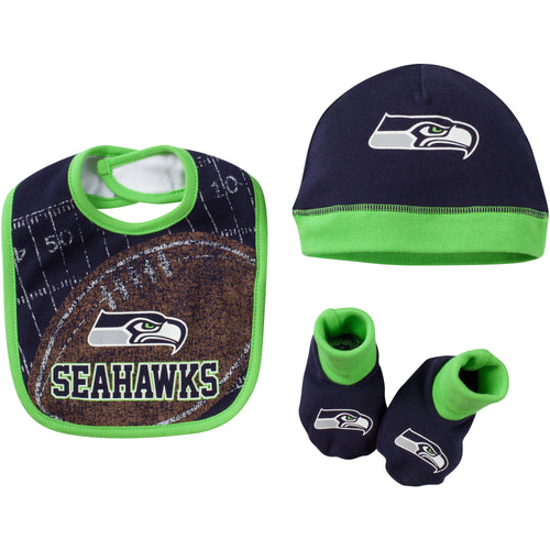 Seahawks Football Bib, Cap and Booties