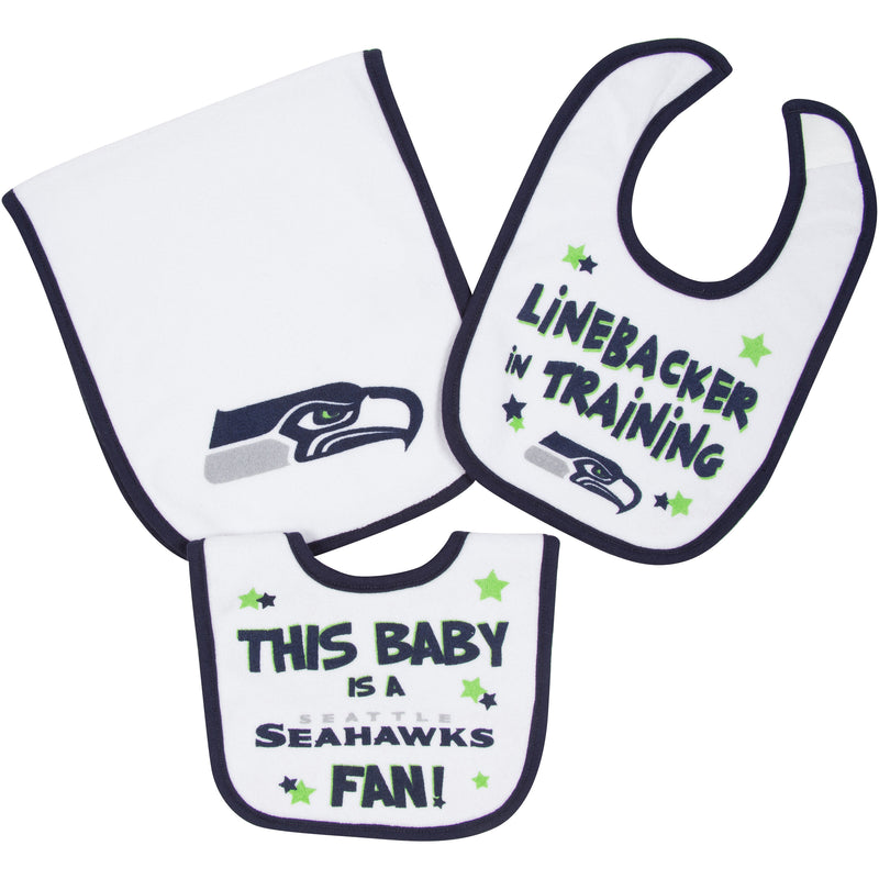 Seahawks Bibs and Burp Cloth