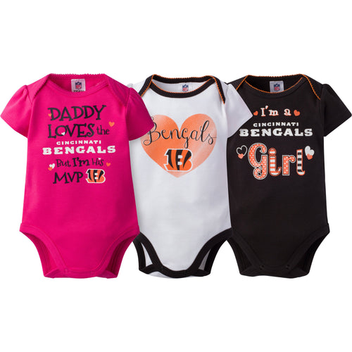Cincinnati Bengals Baby Girls 3PC Short Sleeve Bodysuit