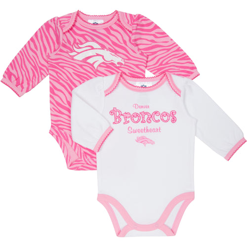 Broncos Pink Long Sleeved Onesies 2-Pack