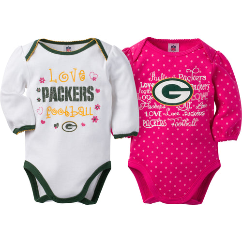 Packers Infant Girls Long Sleeve 2 Pack Bodysuits