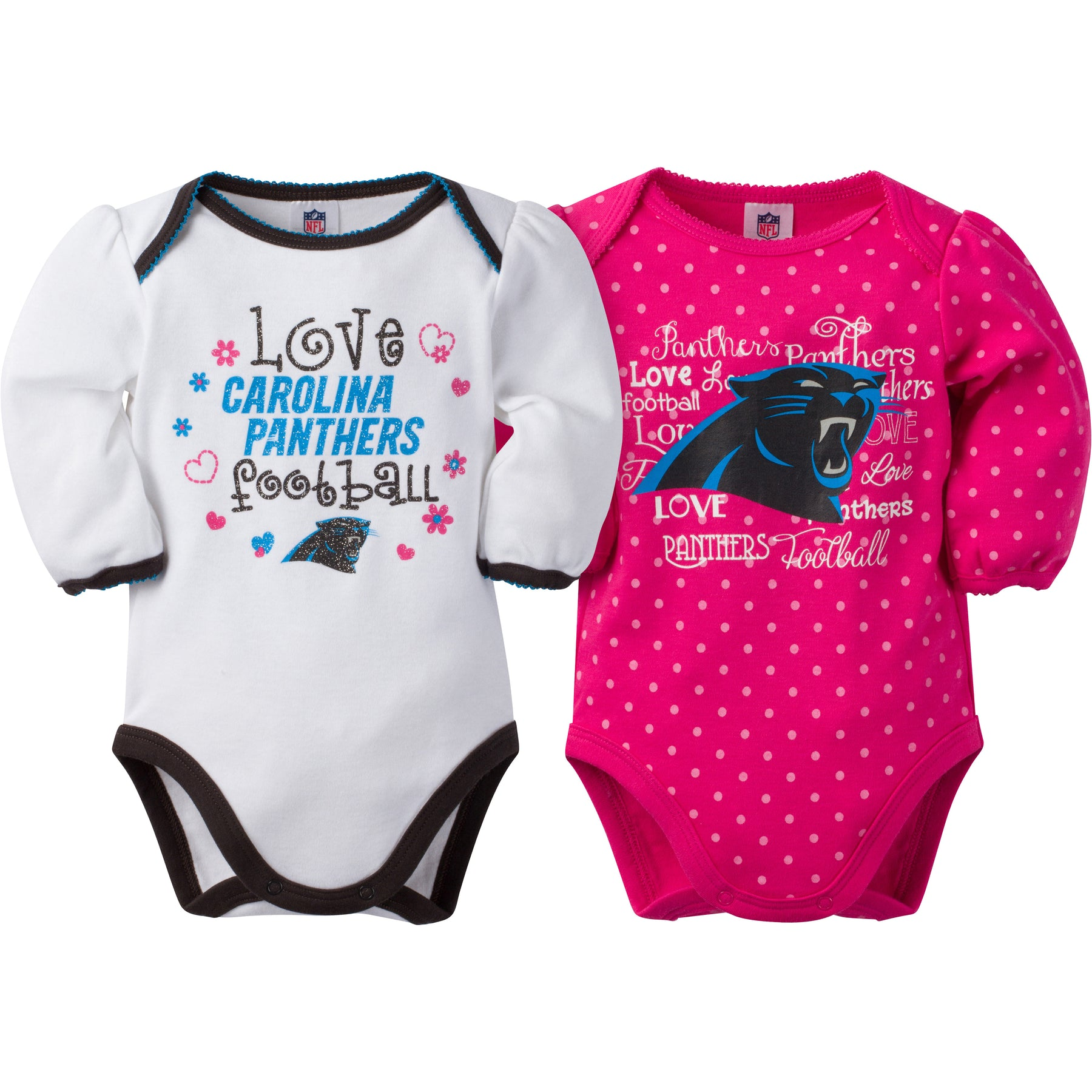301126d5b Panthers Infant Girls Long Sleeve 2 Pack Bodysuits – babyfans